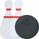hitting pins, bowling, alley pins, leisure game, bowl pins icon
