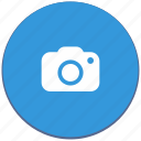 blue, camera, design, material, record, round icon