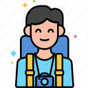 happy, man, travelling icon