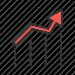 arrow, bar chart, chart, finance, graph, report, statistics icon