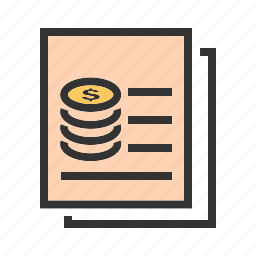 cash, coins, currency, document, invoice, receipt, record icon