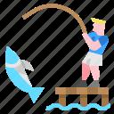 adventure, extreme, fishing, sport icon