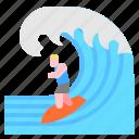 adventure, extreme, sport, surf icon
