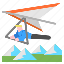 extreme, fly, flying, gliding, hang icon