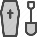 cemetary, cross, death, gravecoffin, halloween, showel icon