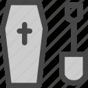cemetary, cross, death, gravecoffin, halloween, showel