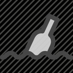 bottle, floating, letter, lost, message, ocean, water icon
