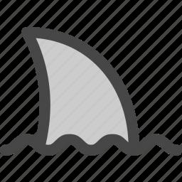danger, fin, ocean, sea, shark, surface, swimming icon