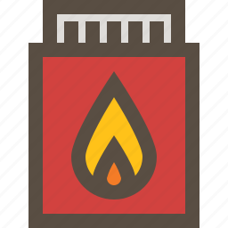 box, lighter, match, match stick icon