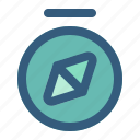 adventure, camp, compass, direction, travel icon