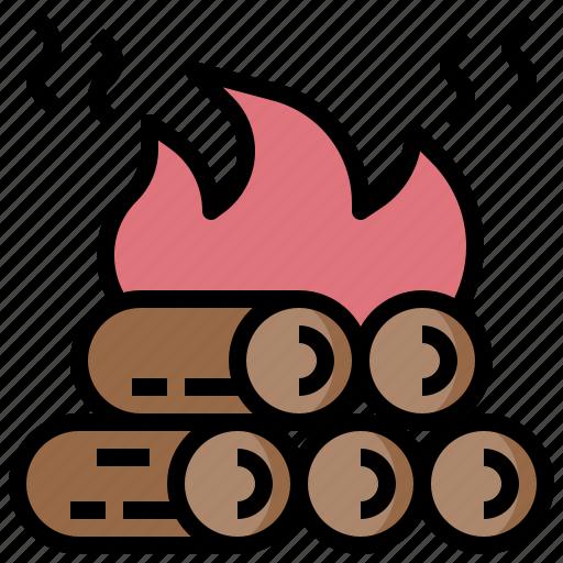 bonfire, camp, camping, fire, nature, survival icon