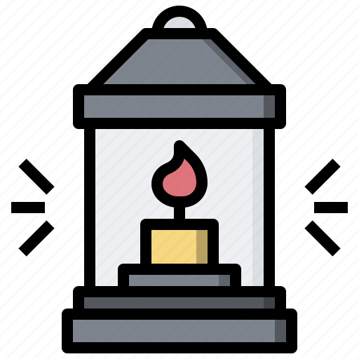 camping, candle, fire, flame, lamp, lantern icon