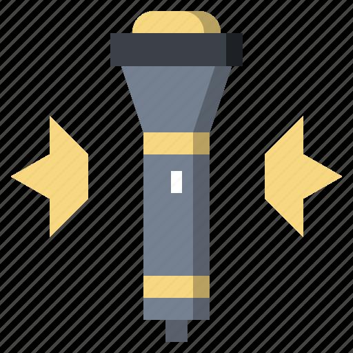 exploration, flashlight, lamp, light, miscellaneous icon