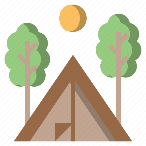 activities, camping, forest, rural, scenery, tent, woods icon