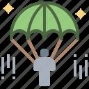 gliding, parachute, parachutist, paraglider, people