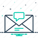 chatting, communication, dialog, envelope, inbox message, notification, reminder icon