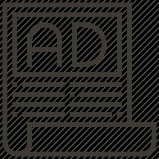 advertisement, advertising, document, newspaper icon