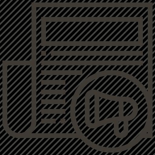 advertisement, advertising, bullhorn, document, megaphone icon