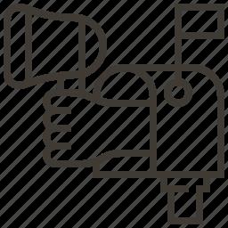 bullhorn, hand, mail, megaphone, message icon