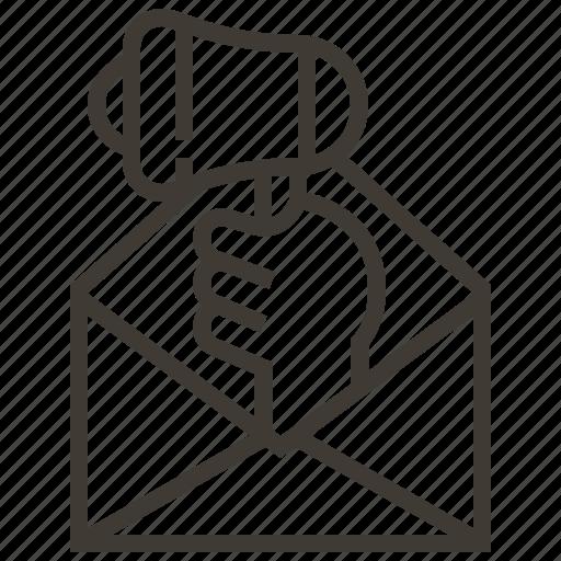 advertising, bullhorn, envelope, hand, megaphone, message icon