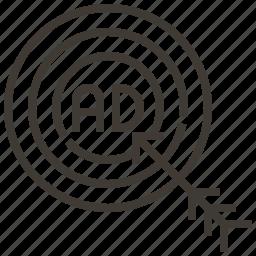advertising, arrow, bullseye, goal, target icon