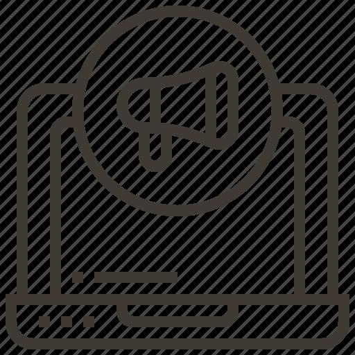 bullhorn, megaphone, monitor, sound icon