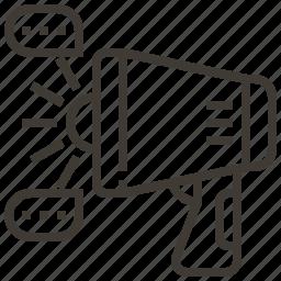 bulhorn, bullseye, communication, megaphone icon