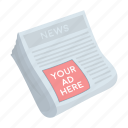 advertising, business, marketing, newspaper, paper, stack icon