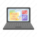 advertising, business, chart, computer, internet, laptop, site icon