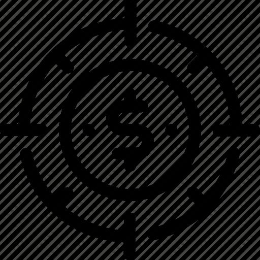 aim, dollar, marketing, money, strategy, target icon