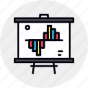 business, chart, data, graph, stats, whiteboard icon