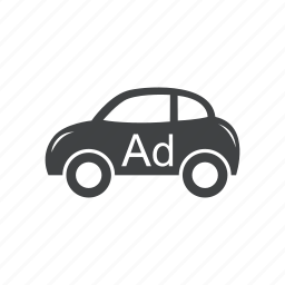 ad, advertisement, auto, commercial, promotion, public, transport icon