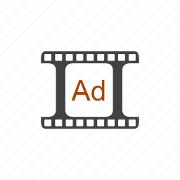 ad, advertisement, advertising, cinema, commercial, movie, promotion icon
