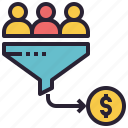 sales, funnel, conversion, buyer, customers, profit, coin