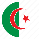 africa, algeria, color, country, flag, nation, round icon