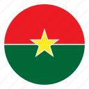 africa, burkina, country, faso, flag, nation, round icon