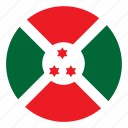 africa, burundi, color, country, flag, nation, round icon
