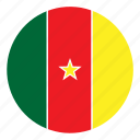 africa, cameroon, color, country, flag, nation, round