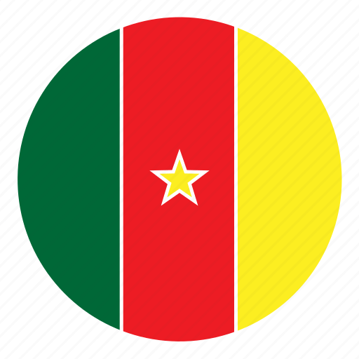 africa, cameroon, color, country, flag, nation, round icon