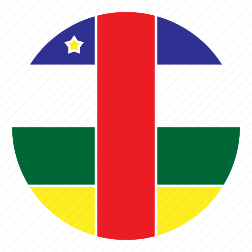 africa, african, central, country, flag, nation, round icon