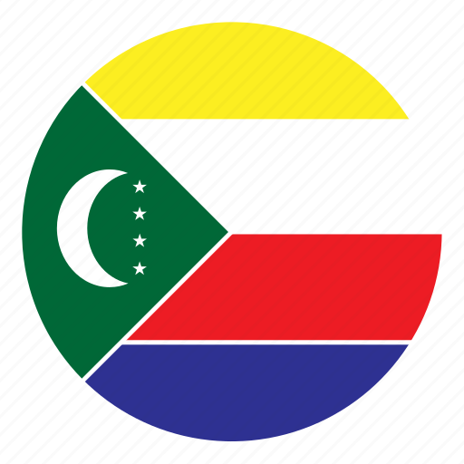 africa, color, comoros, country, flag, nation, round icon