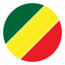 africa, color, congo, country, flag, nation, round icon