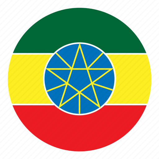 africa, color, country, ethiopia, flag, nation, round icon