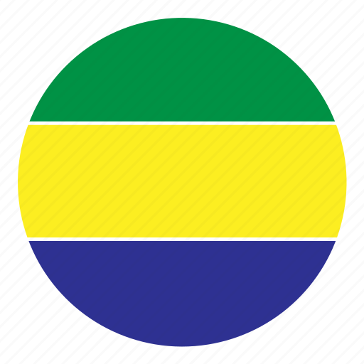 africa, color, country, flag, gabon, nation, round icon
