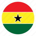 africa, color, country, flag, ghana, nation, round icon