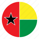 africa, bissau, country, flag, guinea, nation, round icon
