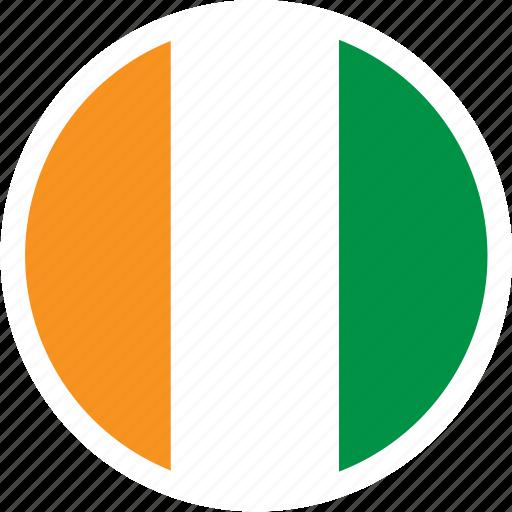 africa, coast, country, flag, ivory, nation, round icon