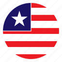 africa, color, country, flag, liberia, nation, round icon