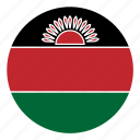 africa, color, country, flag, malawi, nation, round icon