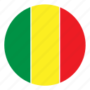 africa, color, country, flag, mali, nation, round icon